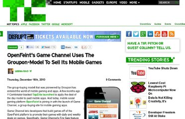 http://techcrunch.com/2010/12/16/openfeints-game-channel-uses-the-groupon-model-to-sell-its-mobile-games/