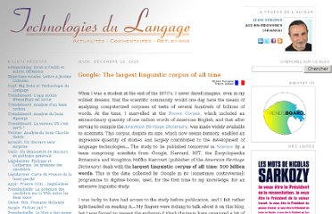 http://blog.veronis.fr/2010/12/google-largest-linguistic-corpus-of-all.html