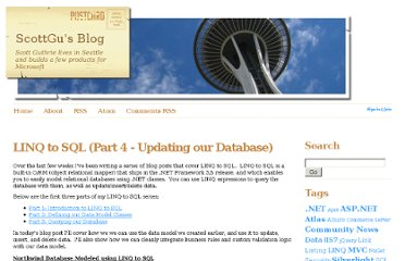 http://weblogs.asp.net/scottgu/archive/2007/07/11/linq-to-sql-part-4-updating-our-database.aspx