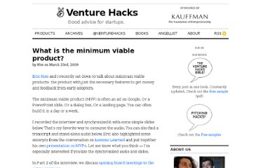 http://venturehacks.com/articles/minimum-viable-product