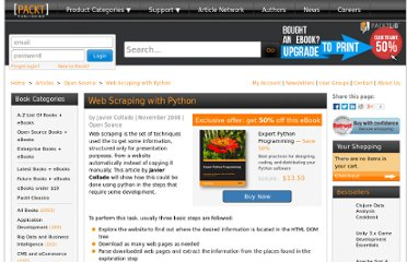 http://www.packtpub.com/article/web-scraping-with-python