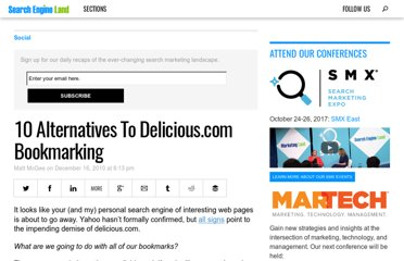 http://searchengineland.com/10-alternatives-to-delicious-com-bookmarking-59058
