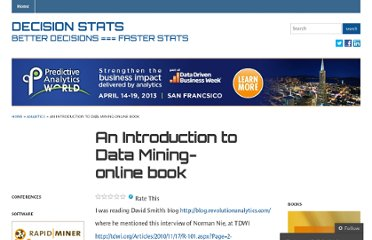 http://decisionstats.com/2010/12/05/an-introduction-to-data-mining-online-book/