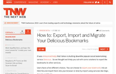 http://thenextweb.com/lifehacks/2010/12/17/how-to-export-import-and-migrate-delicious-bookmarks/