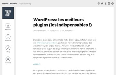 http://www.fran6art.com/wordpress/wordpress-les-12-meilleurs-plugins/