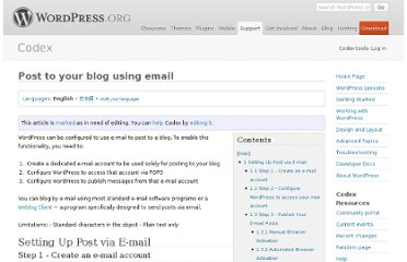 http://codex.wordpress.org/Post_to_your_blog_using_email
