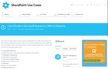 http://www.sharepointusecases.com/index.php/2009/06/list-of-built-in-microsoft-dynamics-crm-40-reports/