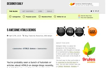 http://www.designer-daily.com/5-awesome-html5-demos-6715