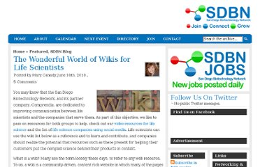 http://sdbn.org/2010/06/14/the-wonderful-world-of-wikis-for-life-scientists/