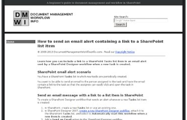 http://www.documentmanagementworkflowinfo.com/sample-sharepoint-workflows/send-email-alert-link-sharepoint-task-list-item.htm