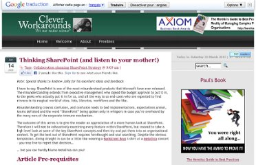 http://www.cleverworkarounds.com/2008/06/14/thinking-sharepoint-and-listen-to-your-mother/