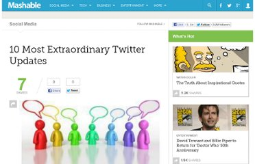 http://mashable.com/2009/04/10/extraordinary-twitter-updates/