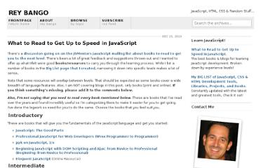 http://blog.reybango.com/2010/12/15/what-to-read-to-get-up-to-speed-in-javascript/