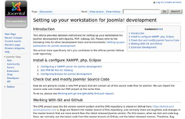 http://docs.joomla.org/Setting_up_your_workstation_for_Joomla%21_development