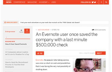 http://thenextweb.com/entrepreneur/2010/12/17/an-evernote-user-once-saved-the-company-with-a-last-minute-500000-check/