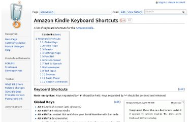 http://wiki.mobileread.com/wiki/Amazon_Kindle_Keyboard_Shortcuts