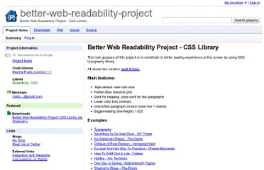 http://code.google.com/p/better-web-readability-project/