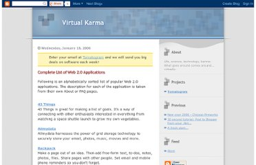 http://virtualkarma.blogspot.com/2006/01/complete-list-of-web-20-applications.html