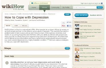 http://www.wikihow.com/Cope-with-Depression