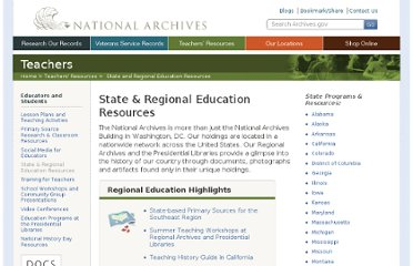 http://www.archives.gov/education/regional-resources/