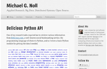 http://www.michael-noll.com/projects/delicious-python-api/