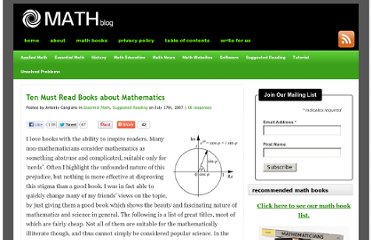 http://math-blog.com/2007/07/17/ten-must-read-books-about-mathematics/