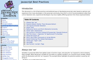 http://www.javascripttoolbox.com/bestpractices/
