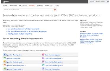 http://office.microsoft.com/en-us/outlook-help/learn-where-menu-and-toolbar-commands-are-in-office-2010-and-related-products-HA101794130.aspx#_Toc268688374