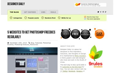 http://www.designer-daily.com/5-websites-to-get-photoshop-freebies-regularly-11268