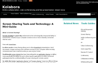 http://www.kolabora.com/news/2006/10/05/screen_sharing_tools_and_technology.htm