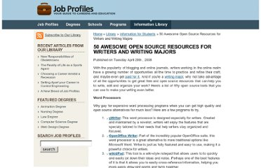 http://www.jobprofiles.org/library/students/50_awesome_open_source_resources_for_online_writers.htm