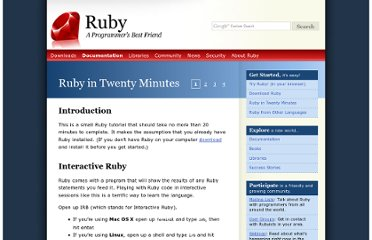 http://www.ruby-lang.org/en/documentation/quickstart/