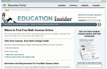 http://education-portal.com/articles/Where_to_Find_Free_Math_Courses_Online.html