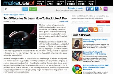 http://www.makeuseof.com/tag/top-5-websites-to-learn-how-to-hack-like-a-pro/