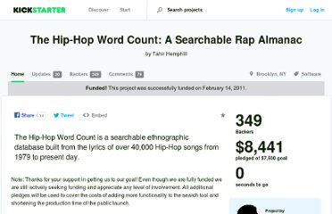 http://www.kickstarter.com/projects/1801076626/the-hip-hop-word-count-a-searchable-rap-almanac