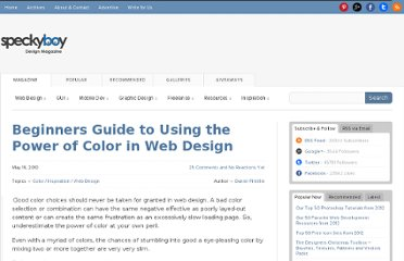 http://speckyboy.com/2010/05/19/beginners-guide-to-using-the-power-of-color-in-web-design/