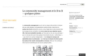 http://etatdefait.wordpress.com/2010/12/15/le-community-management-et-le-b-to-b-quelques-pistes/