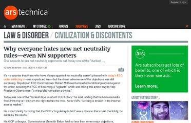 http://arstechnica.com/tech-policy/news/2010/12/why-everyone-hates-new-net-neutrality-ruleseven-nn-supporters.ars