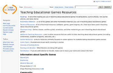 http://www.opencontent.org/wiki/index.php?title=Teaching_Educational_Games_Resources