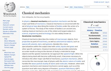 http://en.wikipedia.org/wiki/Classical_mechanics