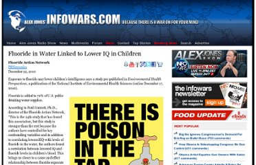http://www.infowars.com/fluoride-in-water-linked-to-lower-iq-in-children-2/