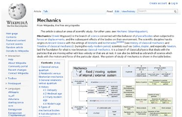 http://en.wikipedia.org/wiki/Mechanics