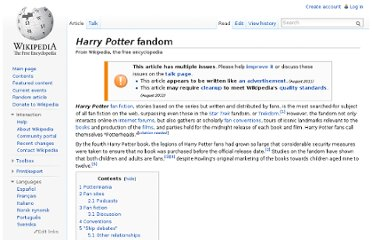 http://en.wikipedia.org/wiki/Harry_Potter_fandom