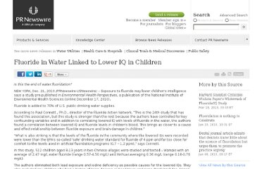 http://www.prnewswire.com/news-releases/fluoride-in-water-linked-to-lower-iq-in-children-112261459.html