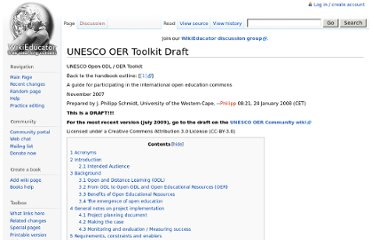 http://www.wikieducator.org/UNESCO_OER_Toolkit_Draft