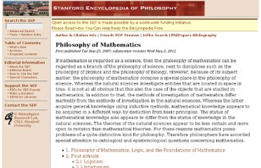 http://plato.stanford.edu/entries/philosophy-mathematics/