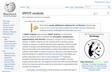 http://en.wikipedia.org/wiki/SWOT_analysis