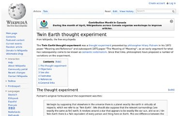 http://en.wikipedia.org/wiki/Twin_Earth_thought_experiment