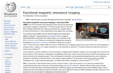 http://en.wikipedia.org/wiki/Functional_magnetic_resonance_imaging