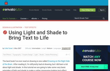 http://psd.tutsplus.com/tutorials/text-effects-tutorials/using-light-and-shade-to-bring-text-to-life/